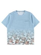 Men's 花柄グラデーションプリント 半袖プルオーバー