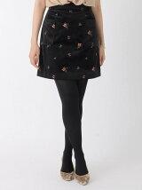 花柄刺繍ベロアスカート