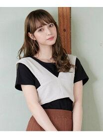 【SALE/80%OFF】MAJESTIC LEGON リボンベストセットT マジェスティックレゴン カットソー Tシャツ ホワイト ブラウン ブラック