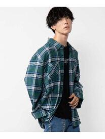 【SALE/61%OFF】WEGO (M)チェックネルビッグシャツ ウィゴー シャツ/ブラウス 長袖シャツ グリーン ブラック ベージュ