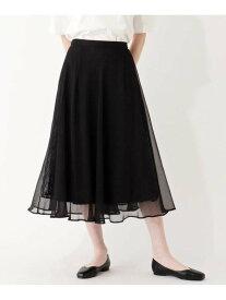 【SALE/33%OFF】grove シアー楊柳重ねスカート グローブ スカート ロングスカート ブラック ピンク