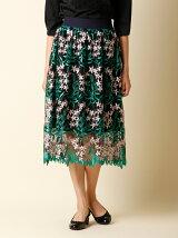 【秋の新作】フラワー刺繍フレアスカート