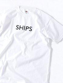 SHIPS SC:【一部WEB限定カラー】SHIPSロゴ エンブロイダリー Tシャツ シップス カットソー Tシャツ ホワイト ベージュ ブラウン イエロー グリーン ネイビー パープル【送料無料】