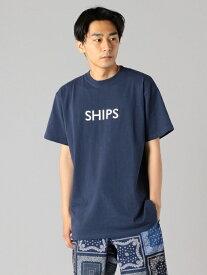 SHIPS SC:【一部WEB限定カラー】SHIPSロゴ エンブロイダリー Tシャツ シップス カットソー Tシャツ ネイビー ホワイト ベージュ ブラウン イエロー グリーン パープル【送料無料】