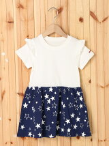 S/S RUFFLE DRESS STAR PRINT(4T~7T)