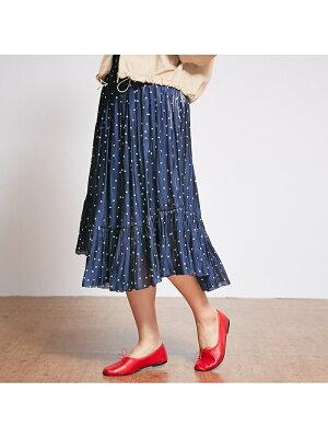 Rouge vif la cle ドット裾切替ギャザースカート【予約】 ルージュ・ヴィフ ラクレ【先行予約】*【送料無料】