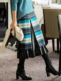 Viaggio Blu 【大きいサイズ】アルパカシャギーチェック×エコレザープリーツスカート ビアッジョブルー スカート ロングスカート ブルー ピンク【送料無料】