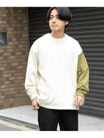 【SALE/70%OFF】ITEMS USAコットン 袖配色 長袖Tシャツ アーバンリサーチアイテムズ カットソー Tシャツ ホワイト ブラック