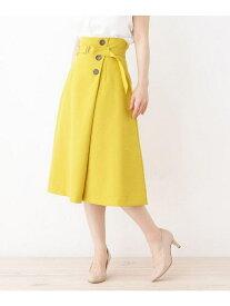 【SALE/37%OFF】grove ヴィンテージボタンラップ風スカート グローブ スカート スカートその他 イエロー ベージュ ネイビー