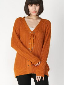 【SALE/57%OFF】GUESS (W)HUDSON LACE UP SWEATER ゲス ニット 長袖ニット オレンジ レッド