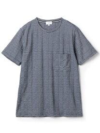 MEN'S BIGI チェック柄リンクスジャガードカットソー メンズ ビギ カットソー Tシャツ ブルー ホワイト【送料無料】