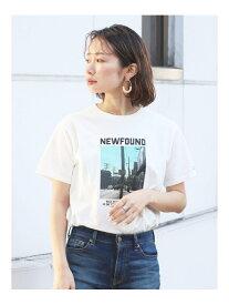 Ungrid フォトプリントロゴTee アングリッド カットソー Tシャツ ホワイト グレー ベージュ【送料無料】