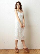 カラー刺繍Iラインキャミワンピース
