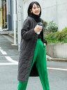 coca キルティングノーカラーロングコート コカ コート/ジャケット ロングコート ブラック カーキ【送料無料】