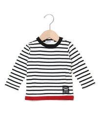 【SALE/10%OFF】天竺裾配色ボーダーTシャツ ベベ オンライン ストア カットソー【RBA_S】【RBA_E】