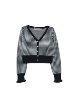 gingham knitcardigan*