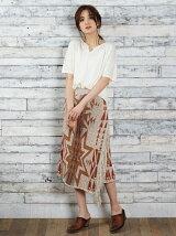綿麻Mix BEACON BLANKETニット フリンジスカート