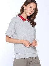 (W)背中ボタン ルーズフィットポロシャツ (半袖)