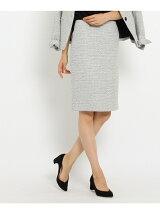 [S]ループツィードストレートタイトスカート