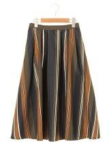 LHELBIE ストライプptフレアギャザースカート