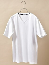 【SALE/50%OFF】SHIPS DC:【ALBINI社製】VネックTシャツ シップス カットソー Tシャツ ホワイト ブラック ブルー ネイビー