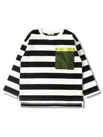 branshes 配色ポケット長袖Tシャツ ブランシェス カットソー Tシャツ レッド ホワイト オレンジ パープル ブラック