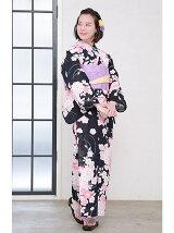 菊×桜柄浴衣