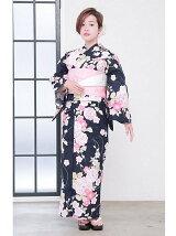 菊×桜柄浴衣 / レトロ