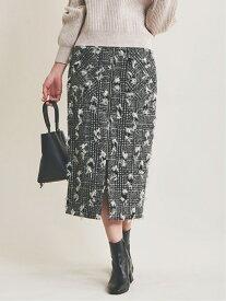 The Virgnia カットラメツイードスカート ザ ヴァージニア スカート タイトスカート ブラック ベージュ【送料無料】