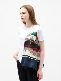 【SALE/30%OFF】GUILD PRIME ドレープスカーフTシャツ ラブレス カットソー Tシャツ ネイビー ブラウン【送料無料】