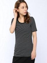 (W)ループロゴ細ボーダー柄半袖Tシャツ・カットソー
