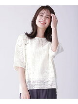LACE FABRIC SHORT SLEEVE TOP