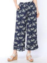花柄裾パイピングパンツ