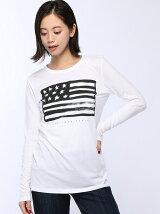 (W)コットンロゴロングTシャツ