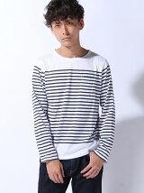 (M)ZIP FIVE パネルボーダー メンズ Tシャツ