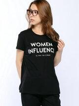 (W)メッセージプリントTシャツ・カットソー