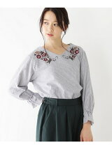 刺繍ツイルストライプシャツ