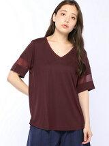 (W)異素材パイピングネック袖シースルーTシャツ・カットソー