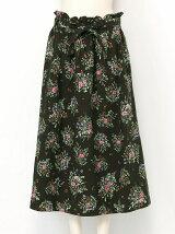 綿起毛ブーケ花柄スカート