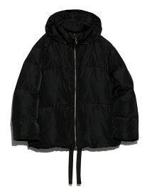 Mila Owen 裾リボンダウンJK ミラオーウェン コート/ジャケット ダウンジャケット ブラック カーキ グリーン【送料無料】