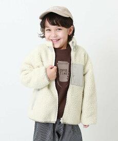 devirock 洗えるアウトドアボアジャケット アウター デビロック 子供服 キッズ デビロック コート/ジャケット ブルゾン ホワイト グレー ベージュ