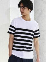 SC MESH PANEL/ボーダー C/N SS Tシャツ