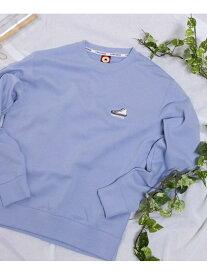 WEGO (M)別注コンバースシューズ刺繍プルオーバー ウィゴー カットソー スウェット ブルー ピンク ベージュ ホワイト