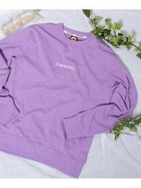 WEGO (M)別注コンバースロゴ刺繍プルオーバー ウィゴー カットソー スウェット パープル ピンク ベージュ ホワイト