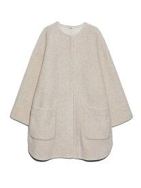 Mila Owen ノーカラーシャツカーブボアJK ミラオーウェン コート/ジャケット ノーカラージャケット ホワイト パープル ブラウン【送料無料】