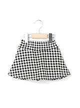 ヒョウ+チェックベロアボンディングスカートパンツ