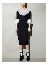LACE COLLAR KNIT DRESS