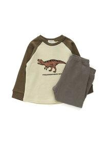 Ampersand 恐竜ルームウェア/パジャマ エフオーオンラインストア インナー/ナイトウェア ルームウェア/はおり ブラウン グレー カーキ