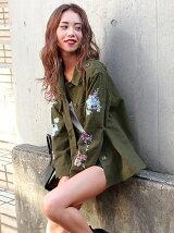 CHILLE袖刺繍ミリタリージャケット