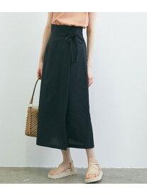 ViS 【WEB限定】リネンライクサイドリボンラップスカート ビス スカート スカートその他 ブラック ホワイト ベージュ【送料無料】